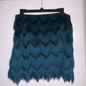 H&M Emerald fringe skirt